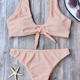 Knotted Scoop Neck Bikini Set   Rosegal US