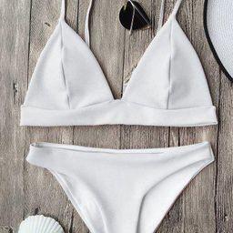Cami Plunge Bikini Top and Bottoms   Rosegal US