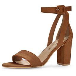 Allegra K Women's PU Panel Chunky Heel Ankle Strap Sandals (Size US 5.5) Brown   Amazon (US)