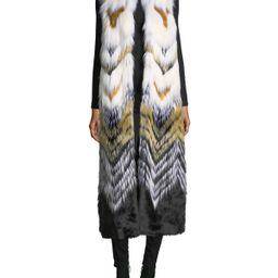 Full-Length Chevron Faux-Fur Vest   Neiman Marcus