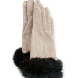 Fur-Cuff Knit Tech Gloves   Neiman Marcus