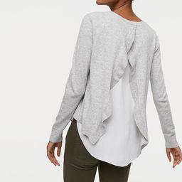Ruffle Back Mixed Media Sweater | LOFT