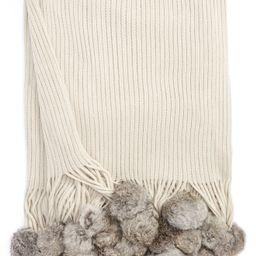 Genuine Rabbit Fur Pompom Rib Knit Throw   Nordstrom