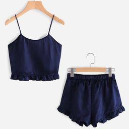 Frill Trim Cami And Shorts Pajama Set   SHEIN