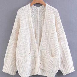 Drop Shoulder Open Front Cardigan   SHEIN