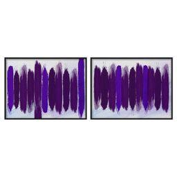Purple Brush 2 Piece Framed Painting Print Set | Wayfair North America