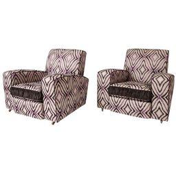 Art Deco Ikat Silk Fabric Club Chairs - A Pair | Chairish
