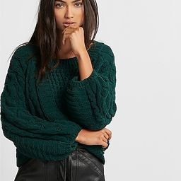 Cable Knit Chenille Boat Neck Balloon Sleeve Sweater | Express