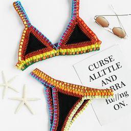 Crochet Trim Triangle Bikini Set   ROMWE