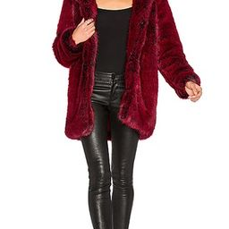 LPA Faux Fur Coat 84 in Blood Red   Revolve Clothing