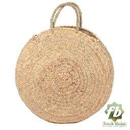 Round large wicker basket natural Handles : French Basket, Moroccan Basket, straw bag, french market | Etsy (US)