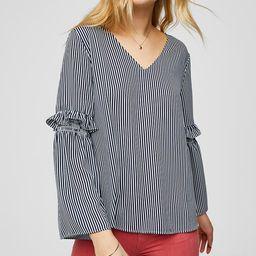 Striped Ruffle Bell Sleeve Blouse | LOFT