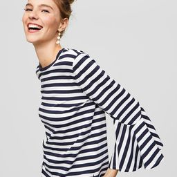 Striped Bell Cuff Top | LOFT
