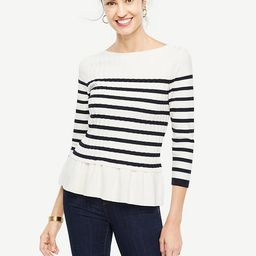 Striped Cable Peplum Sweater   Ann Taylor (US)