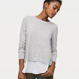 Petite Ruffle Back Mixed Media Sweater | LOFT
