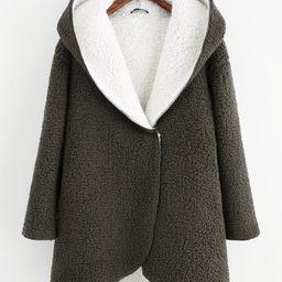 Curved Hem Sherpa Fleece Hoodie Coat | SHEIN