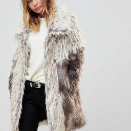 Urbancode Faux Fur Coat With Oversize Collar | ASOS US