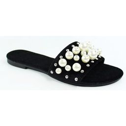Dori-45 Women Flip Flop Pearl Slide Slip On Flat Sandal Shoe Slipper Black   Walmart (US)