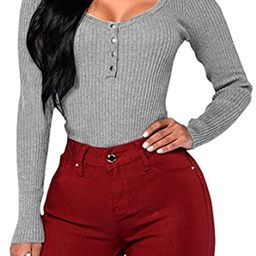 Fixmatti Women Bodysuit Knit Buttons Scoop Neck Thong Bodycon Leotard   Amazon (US)