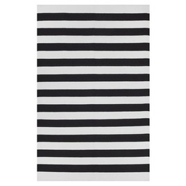 Nantucket black and white stripe area rug