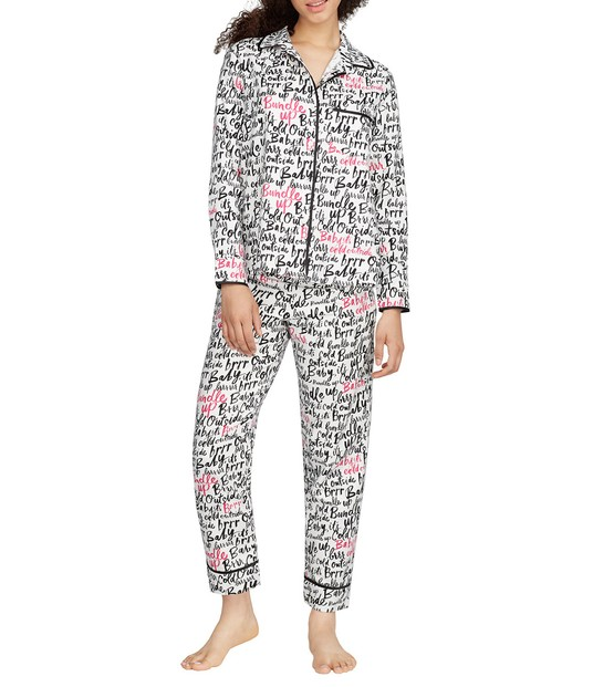 kate spade script print flannel pajamas