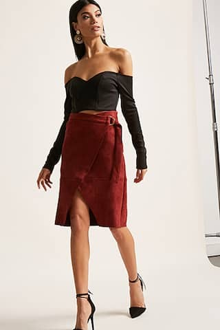 faux sude skirt