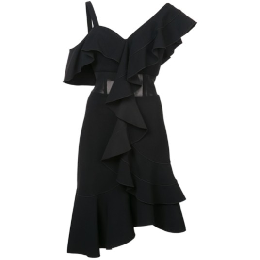 Proenza Schouler Black Ruffle Dress