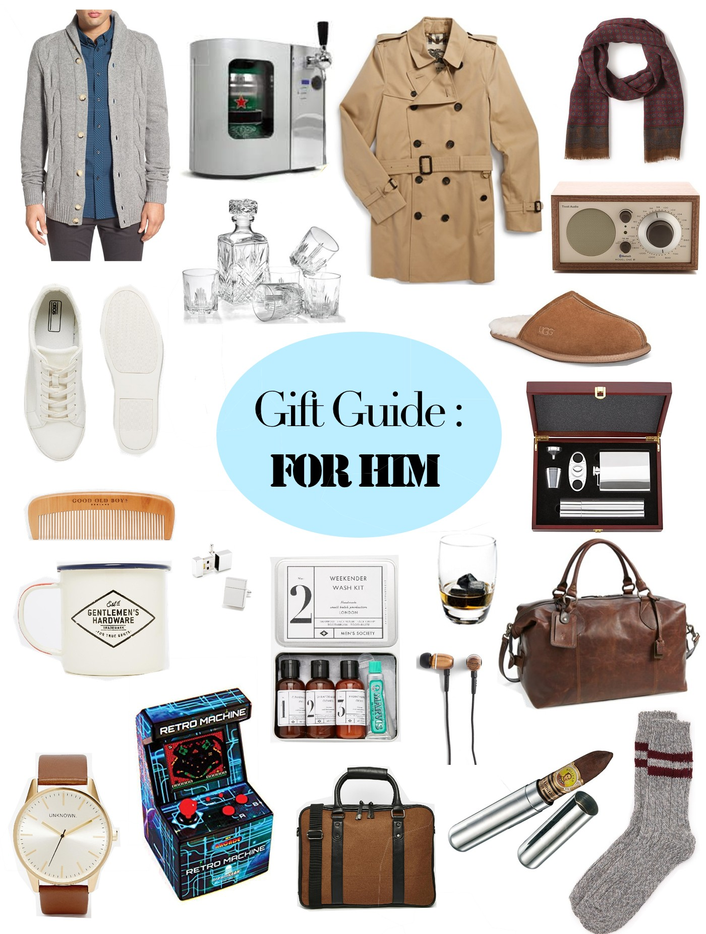 collage of gifts for men, christmas 2015, fashion forward, scotch drinker, cigar lover, mini arcade machine, mens grooming, burberry trench for men