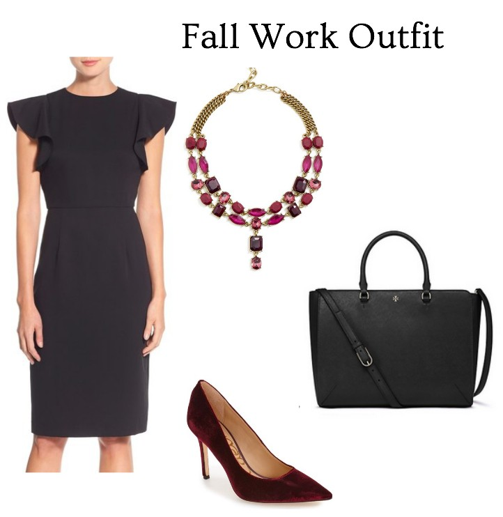 black dress and burgundy accessories