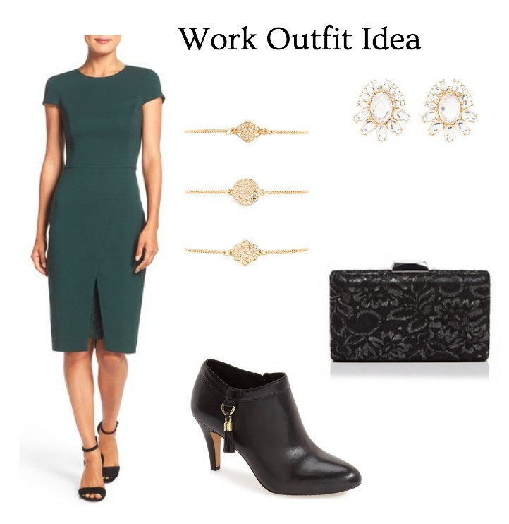 office outfit idea green dress with gold accents