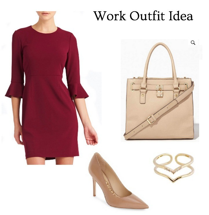 work day outfit idea burgundy dress
