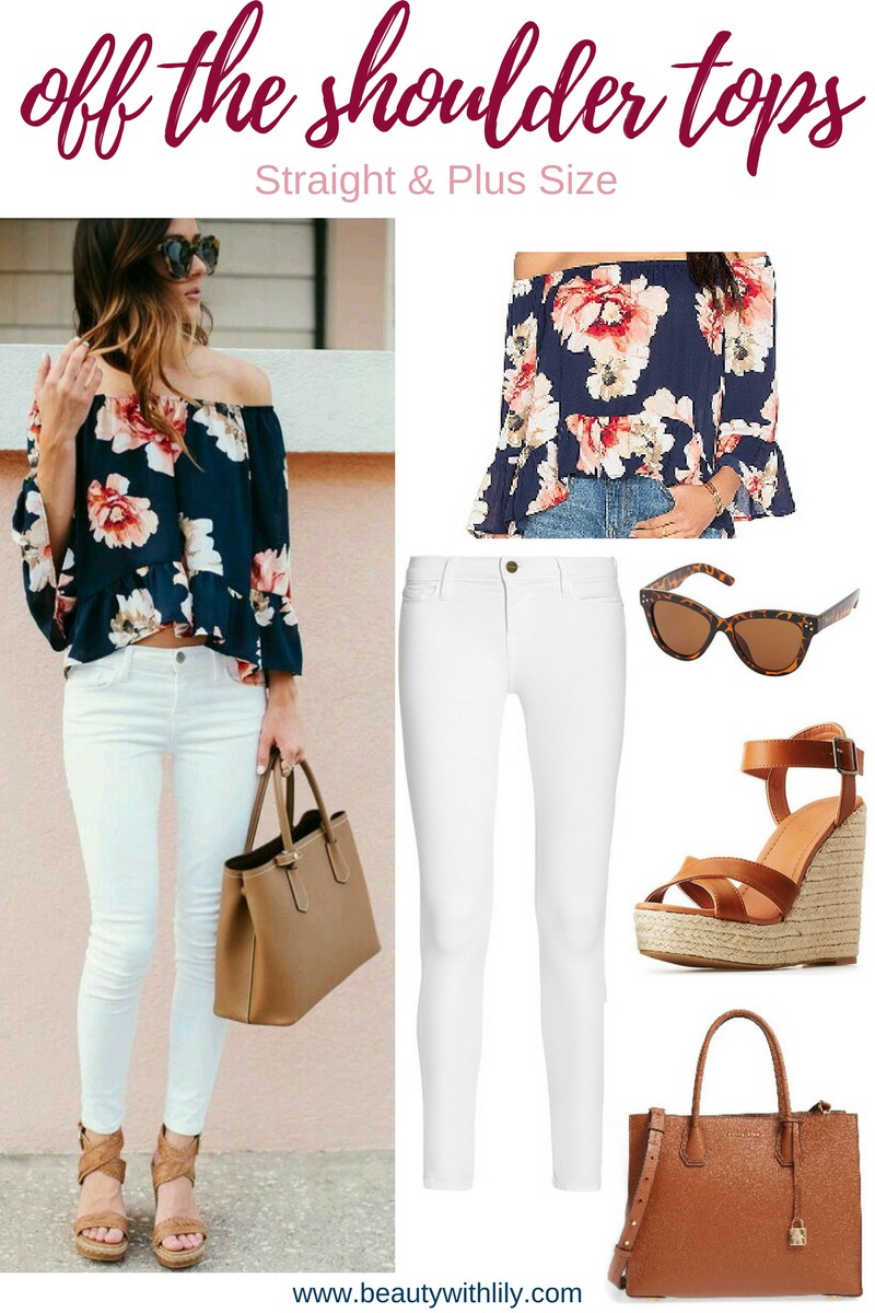 Off The Shoulder Top Outfit Ideas // Plus Size Off The Shoulder Tops // Cute Summer Outfit Ideas | beautywithlily.com