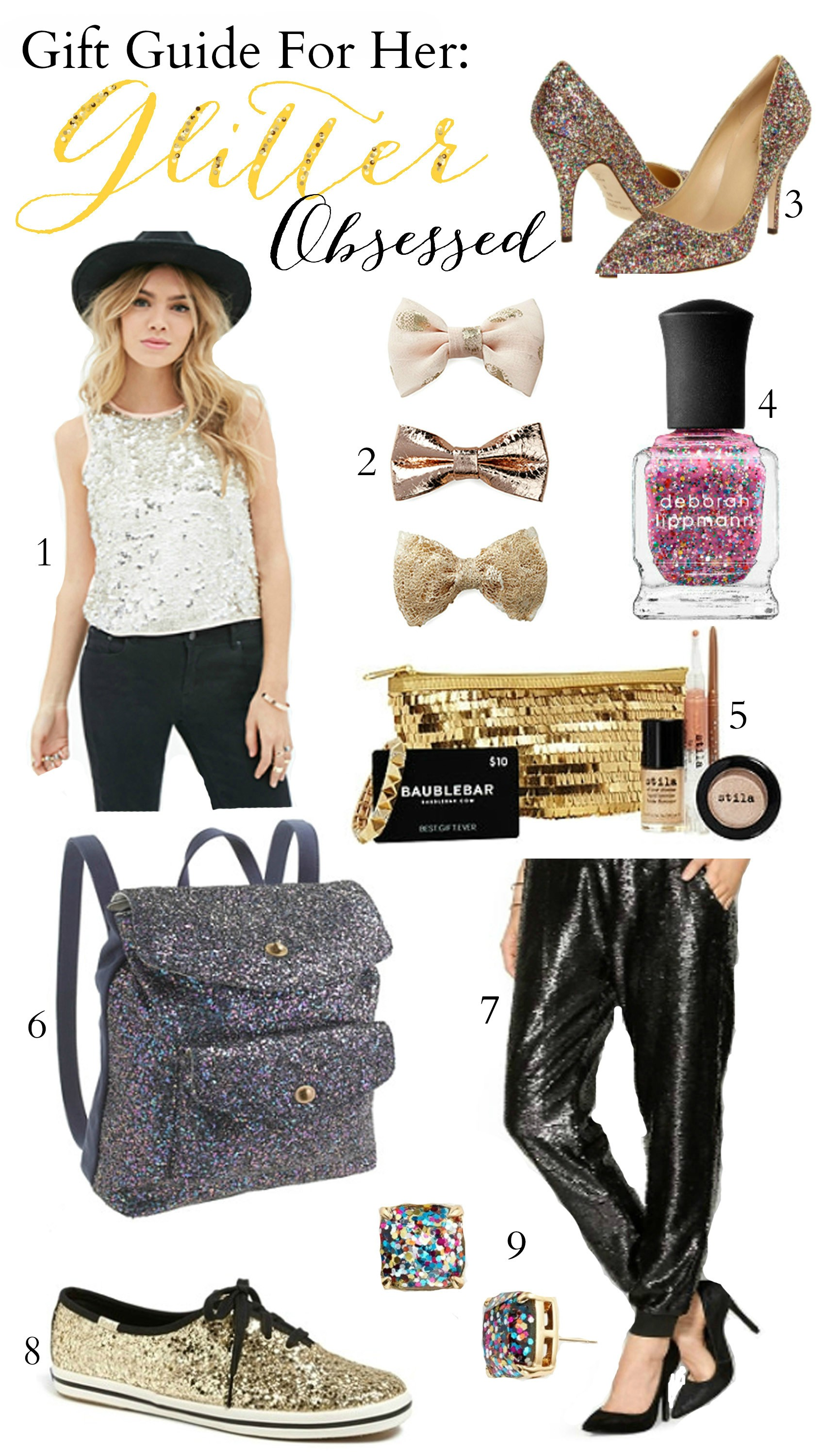 Fashion and beauty blogger Mash Elle shares a Christmas gift guide for girls who love glitter!