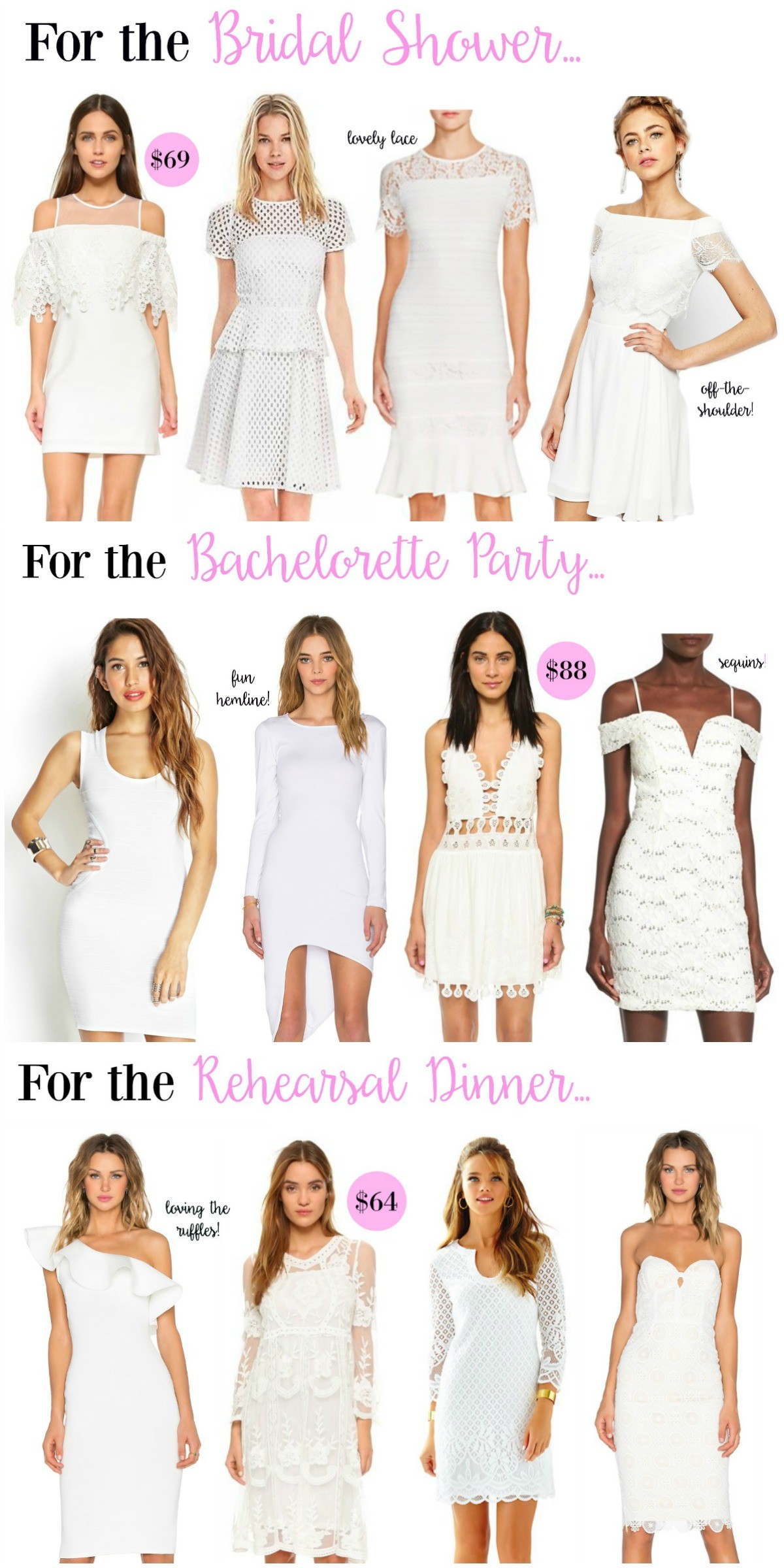 little white dresses, bridal shower dresses, rehearsal dinner dresses