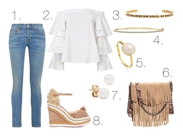 Mel Boteri Style Guide: How To Wear Off-The-Shoulder, Ruffled Blouses Through Fall With Lauren S Mills of Sunday Beach Blog