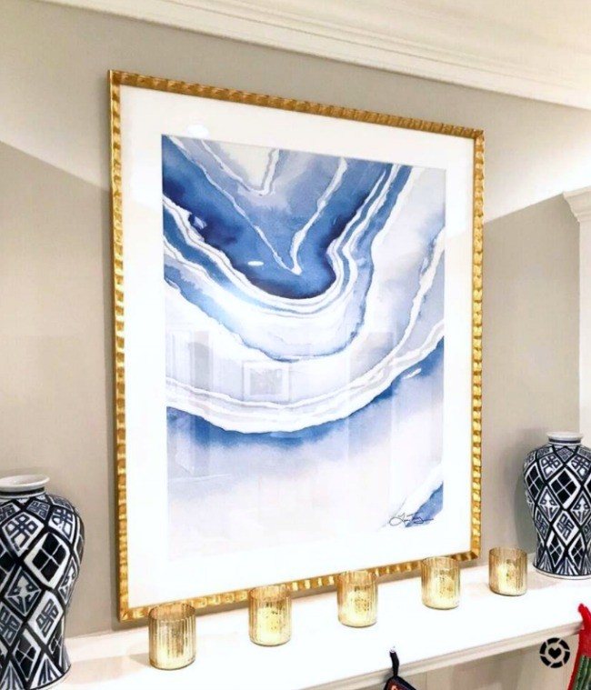 Gold Holiday Mantel with Laura Trevey Blue Lace Agate Oversized Print