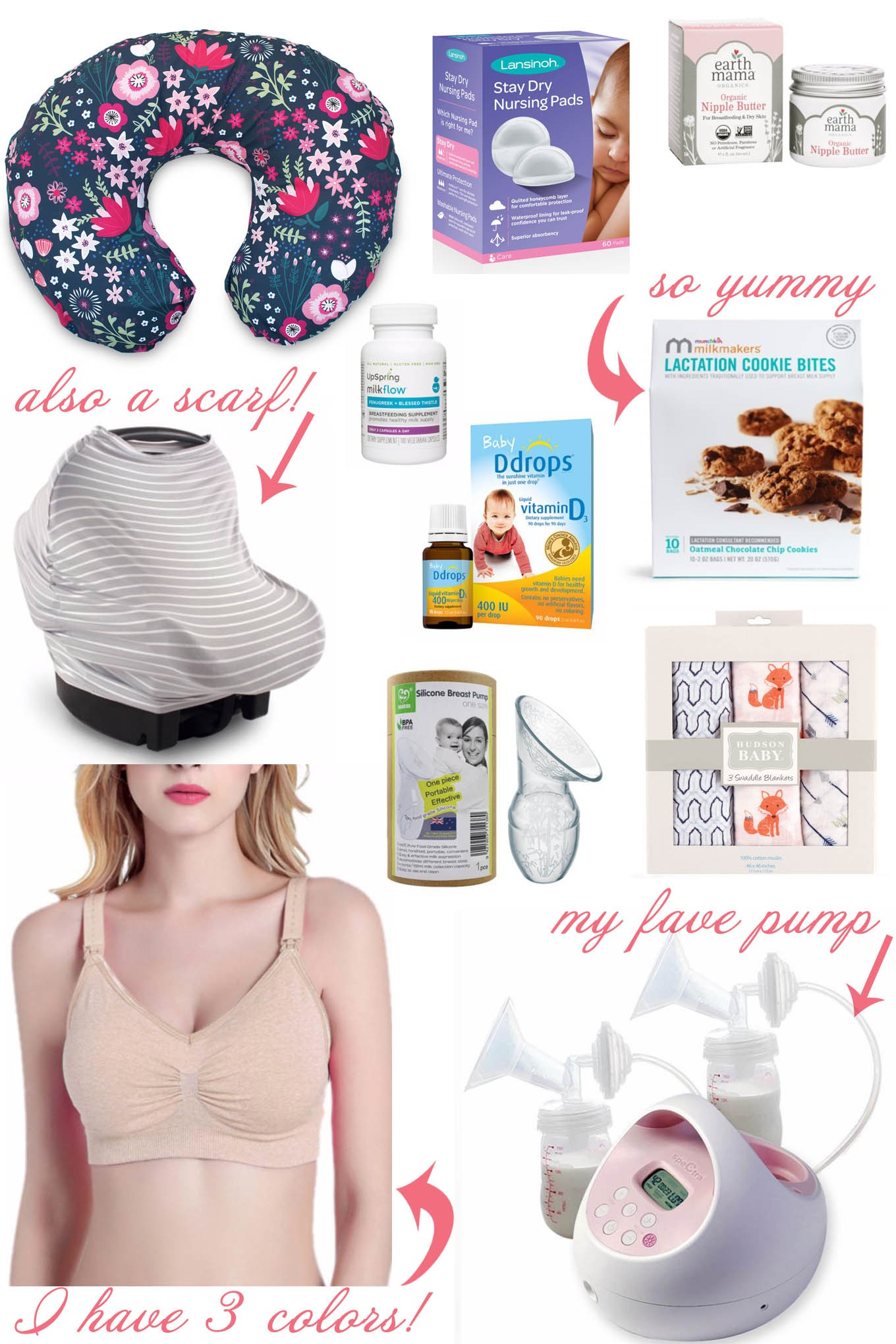 My 10 Breastfeeding Essentials by popular mommy blog, Glass of Glam: collage image of various Walmart nursing products.