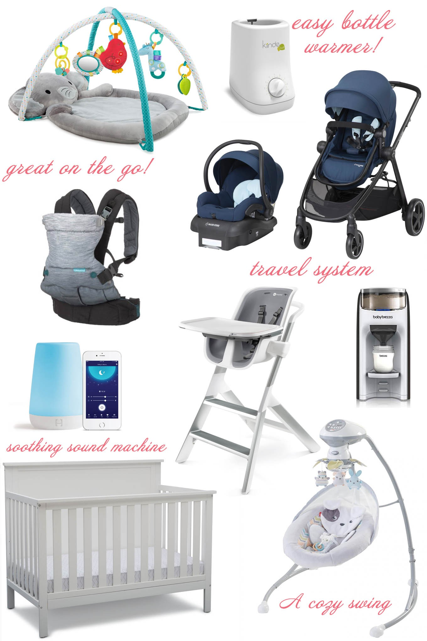 Best of Baby Month: Huge Savings On Baby Gear! by popular Chicago life and style blog, Glass of Glam: collage image of a play mat, bottler warmer, stroller, car seat, high chair, crib, sound machine, and baby swing.
