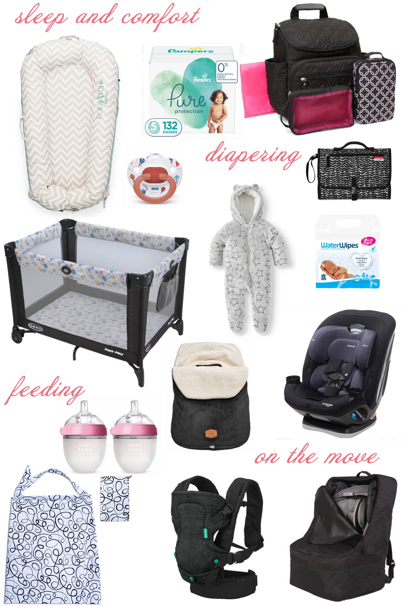 Essential Winter Packing List for Baby by popular Chicago lifestyle blog, Glass of Glam: collage image of a dock-a-tot, Pampers Pure diapers, diaper bag, pac n' play, baby wipes, bottles, baby carrier, car seat, and pacifier. .