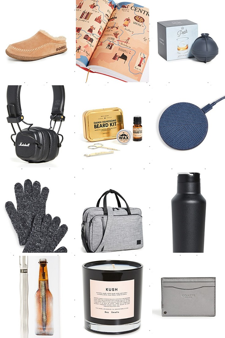 Shopbop Gifts for Him by popular life and style blogger, Greta Hollar: collage image of Sorel slippers, coach wallet, Kush candle, Handsome beard grooming kit, Corckcicle sport canteen, Drop wireless charger, single sphere mold, charcoal gloves, Corckcicle beer chiller, New York Times 36 hours in Europe, Herschel messenger bag, and Marshall headphones.
