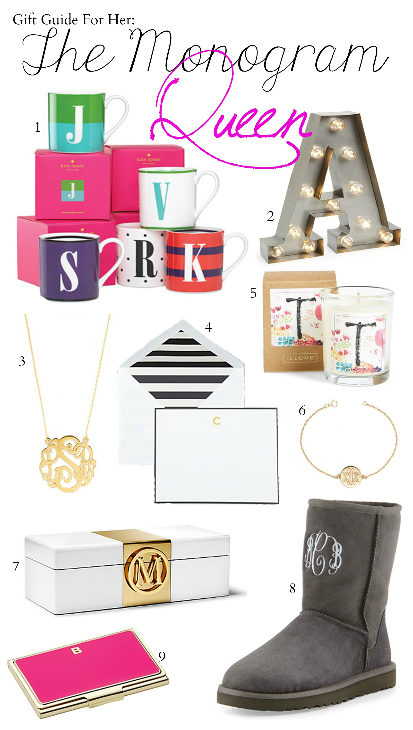 Fashion blogger Mash Elle shares the best monogram gifts | personalized necklace | initial mug | initial jewelry box | monogram bracelet | special gifts