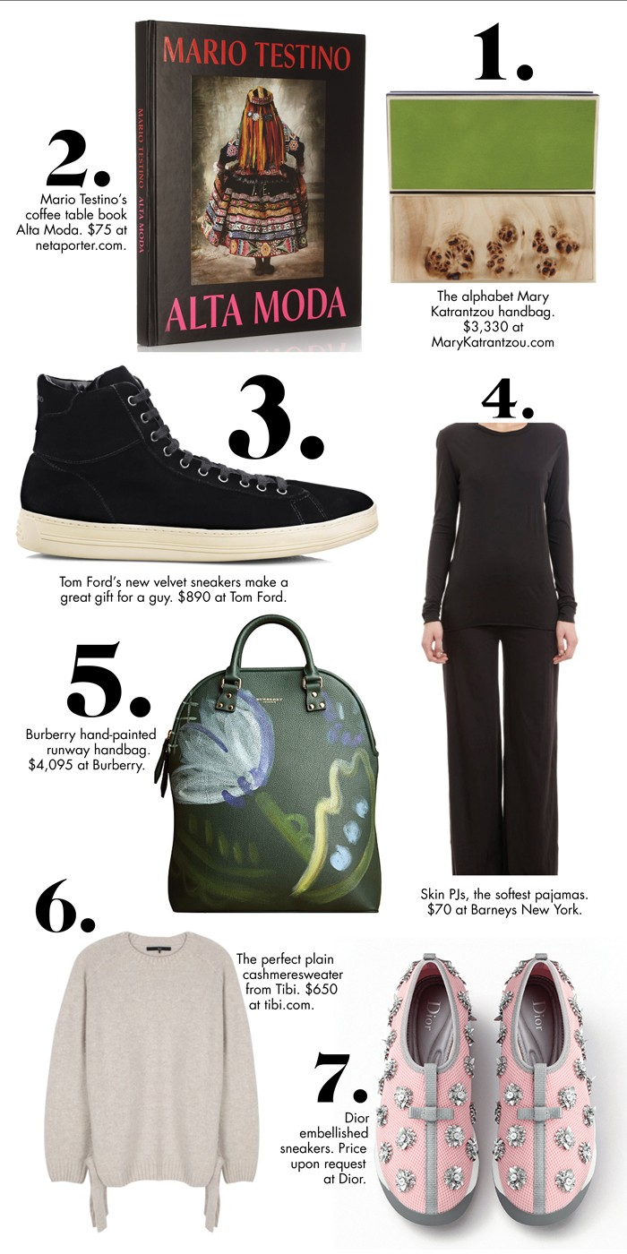 Mario Testino Coffee Table Book 3 Tom Ford Velvet Sneakers 4 Skin Pjs 5 Burberry Handbag 6 Tibi Cashmere Sweater 7 Dior