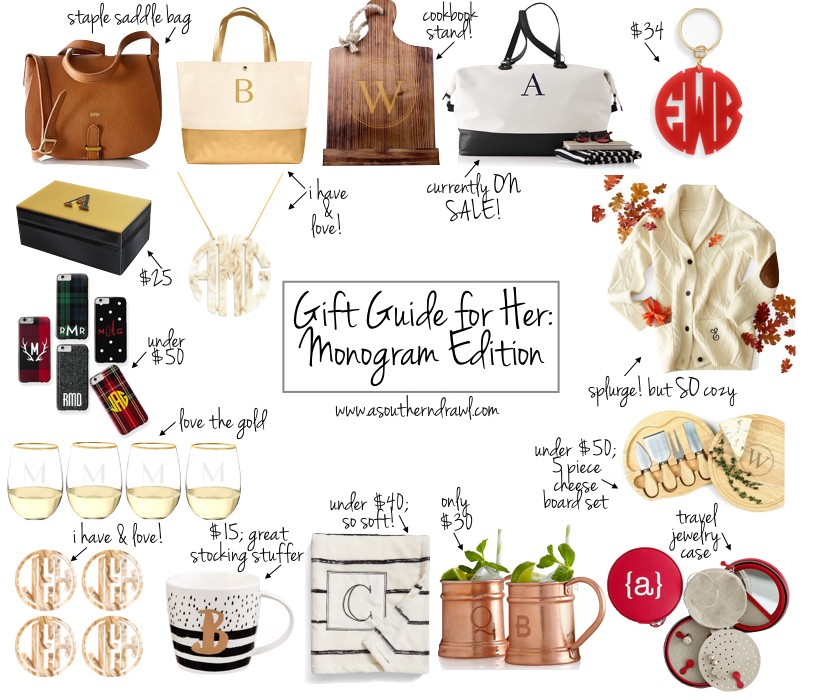 Holiday Gift Guide For Her Monogram Ideas