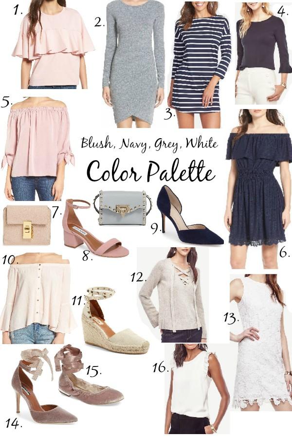 Blush, Grey, & Navy Color Palette Lace & Lashes