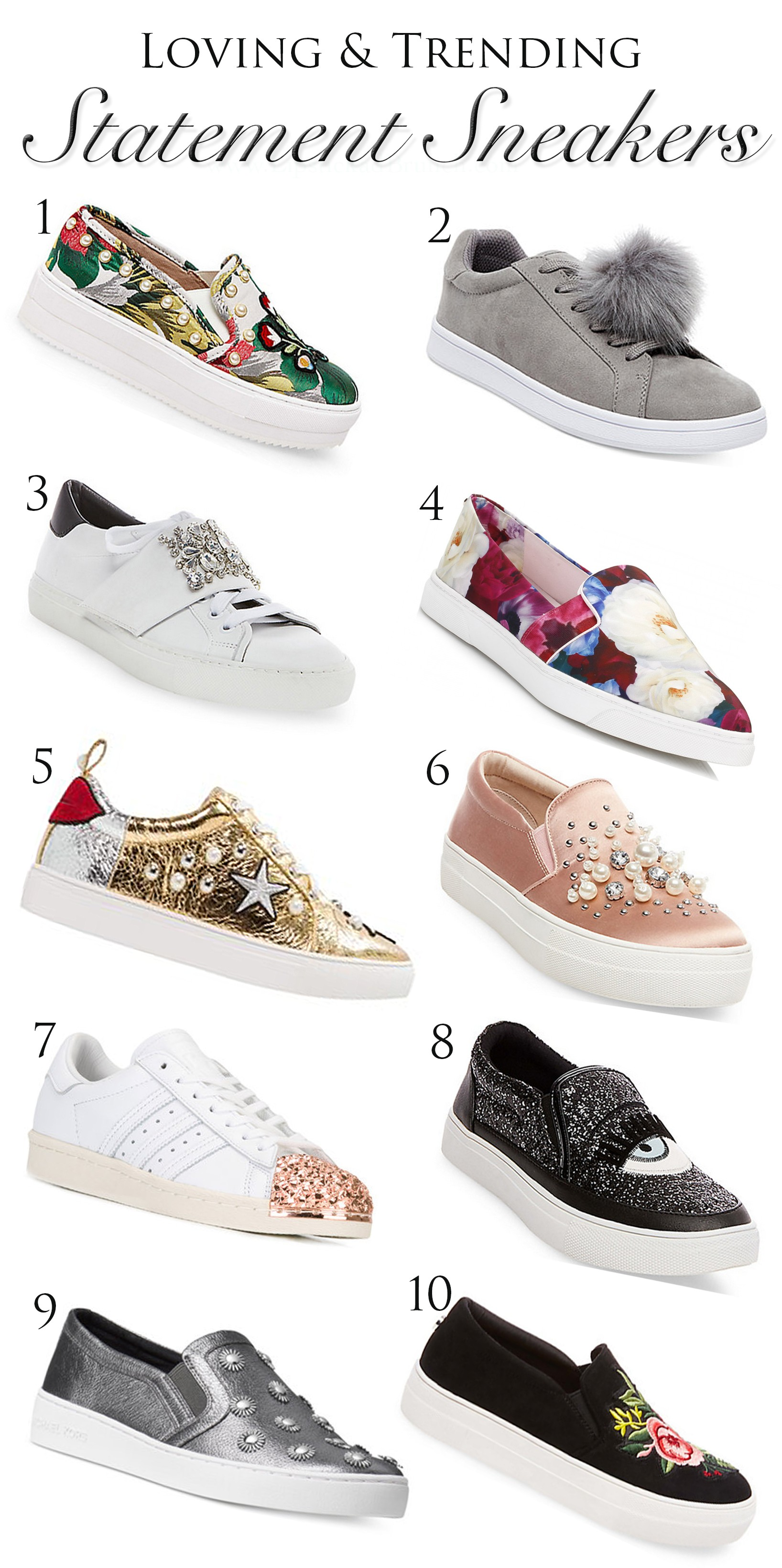 5a21c276206 I sincerely can't pick just one but I'm crushing hard on the gold sneakers  with the lips on the back and on the crisp white lace-up sneakers with an  ...