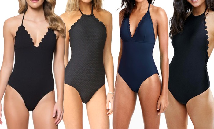 ffe100bf6d53d Jessica Simpson Under the Sea Scalloped Edge Plunge Halter One-Piece ·  J.Crew Scalloped V-neck one-piece swimsuit in Italian matte