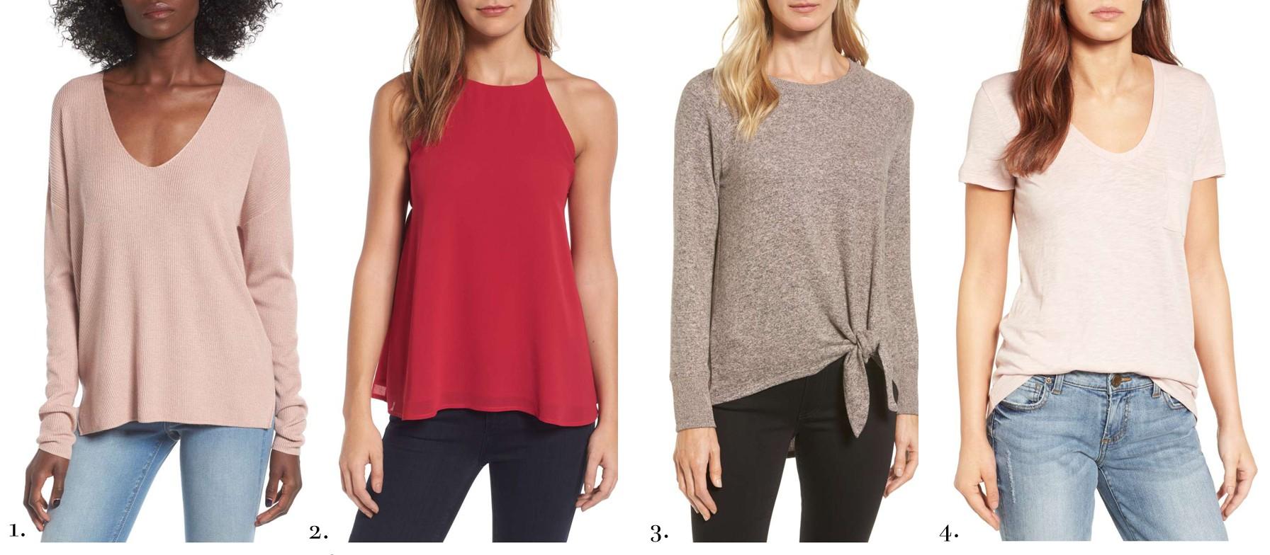 6ba96ba79c3d66 1. BP V Neck Sweater    2. Red Tank    3. Gibson Tie Sweater    4. Dusky  Pink T-Shirt