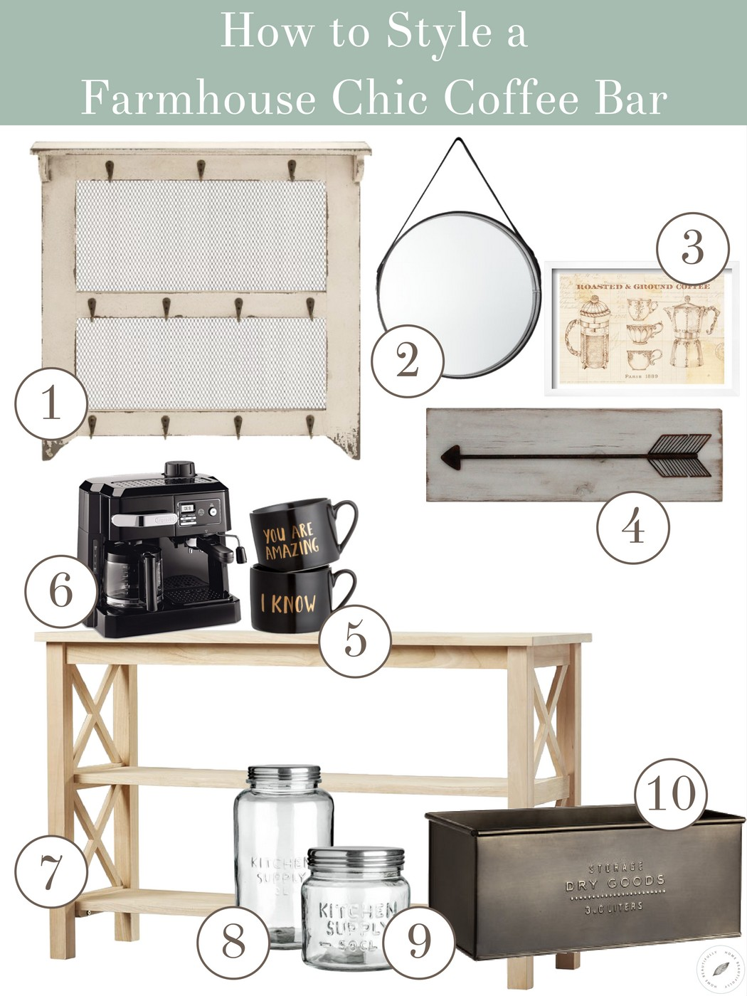 How to Style a Farmhouse Chic Coffee Bar