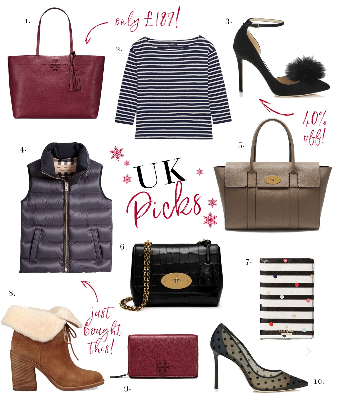 c5ae20da8d7 Tory Burch McGraw Tote    2. Nautical Striped Top    3. Jimmy Choo Pom Pom  Heels    4. Burberry Gilet    5. Mulberry Bayswater    6. Mulberry Lily Bag     7.