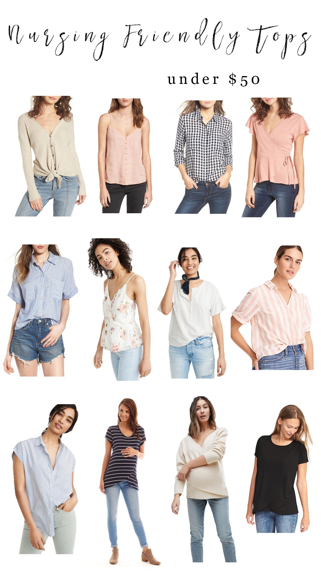 3e55329157a4a ... nursing and pumping moms on a budget! Each of these tops makes your  girls easily accessible for baby 🙂 The photo below is clickable, or you  can shop ...